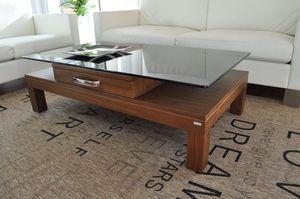 Design Couchtisch Tisch V-470H Nussbaum / Walnuss getöntes Glas Carl Svensson