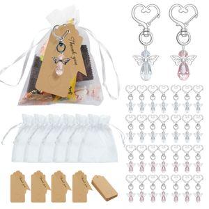 Schutzengel Schlüsselanhänger Anhänger, 30 Stück 2 Farbe Gastgeschenke Schutzengel mit 30 Grußkarte und 30 Organza Beutel, Hochzeit Taufe Party Gastgeschenke