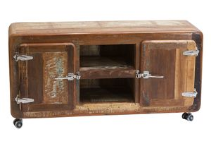 SIT Möbel Lowboard auf Rollen | 2 Türen, 2 offene Fächer | Altholz lackiert | B 135 x T 40 x H 56 cm | 02615-98 | Serie FRIDGE
