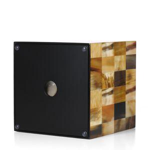 Quadrat Tissue Box mit Horn Streifen Holz Klavier Backlack Technologie Buero Wohnzimmer Badezimmer Schlafzimmer Ornament Wohnkultur