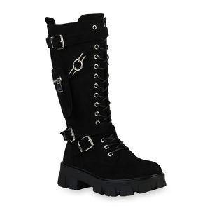 Mytrendshoe Damen Plateaustiefel Leicht Gefütterte Stiefel Taschen Schuhe 835969, Farbe: Schwarz Velours, Größe: 37
