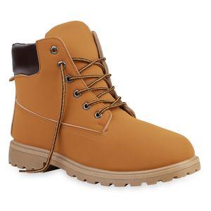 Mytrendshoe Herren Worker Boots Warm Gefütterte Stiefel Outdoor Schuhe 835656, Farbe: Hellbraun, Größe: 43