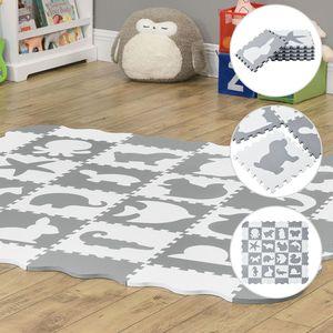 Juskys Kinder Puzzlematte Timon 36 Teile mit 16 Tieren in grau weiß - rutschfest & abwischbar  Puzzle ab 10 Monate - EVA Schaumstoff – Spielmatte