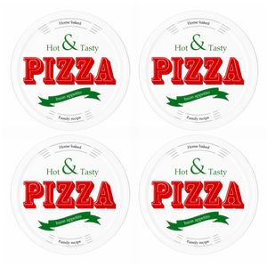 4er Set Pizzateller Hot & Tasty rot / grün Ø 30cm weiß Pizza XL-Teller Platte