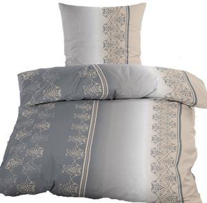 3-tlg. Baumwoll Biber Winter Bettwäsche, 200 x 200 + 2x 80x80cm Übergröße, grau beige, 100% Baumwolle