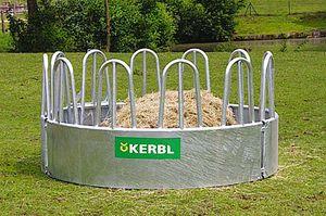 Rundraufe mit 12 Fressplätzen für Normalballen und Rundballen für Pferde Kühe