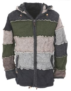 Wolljacke, Patchwork Nepaljacke, Gefütterte Strickjacke Grau/olivgrün - Modell 7, Herren, Wolle, Größe: M