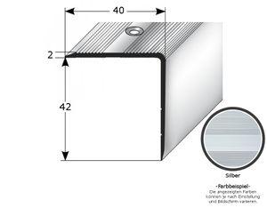 """Treppenkante """"Forli"""", Treppenkantenprofil / Winkelprofil (Größe 40 mm x 42 mm) aus Aluminium eloxiert, gebohrt, von Auer Metall-silber-1000"""