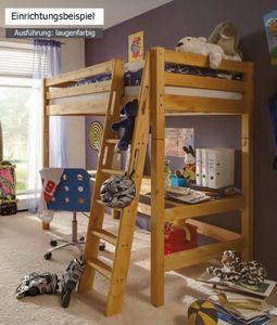 Hochbett Bett Kinderbett Kinderzimmer Schreibplatte Schreibtisch Kiefer massiv, Farbe:Weiß