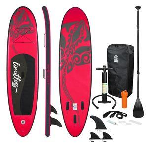 ECD Germany Aufblasbares Stand Up Paddle Board Limitless | 308 x 76 x 10 cm | Rosa | aus PVC und EVA | bis 120kg | Pumpe Tragetasche Zubehör | SUP Board Paddling Board Paddelboard Surfboard | Verschiedene Farben