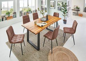 SAM® Baumkante Essgruppe Cognac 140 x 80 mit Stühle Lisa 7tlg. BIANCA