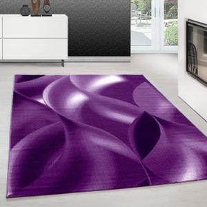 Teppich Designer Modern Kurzflor Abstrakt Wellen Muster Schwarz Lila Weiß, Farbe:LILA,160 cm x 230 cm