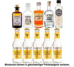 Gin Tonic Probierset - 5x Verschiedene Gin Sorten je 50ml + 5x Fever-Tree Tonic Water 200ml inkl. Pfand MEHRWEG - NEU