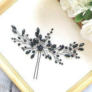 Hochzeit Hairpin Kristalldekoration Pin Clip Frauen Haarknoten Braut Kopfschmuck -(Schwarz,)