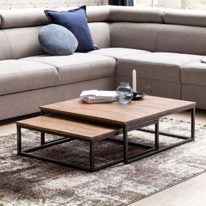 WOHNLING Couchtisch AKOLA 2-teilig Massivholz 75 x 75 x 27 cm | Design Wohnzimmertisch Sheesham Holz | Wohnzimmer Lounge Tisch Palisander Massiv mit Metall Beinen