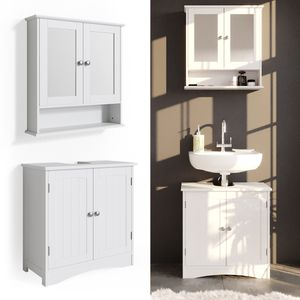 Vicco 2er Badmöbel Set Bianco Spiegelschrank Waschtischunterschrank Badschrank Badezimmermöbel Set im Landhausstil
