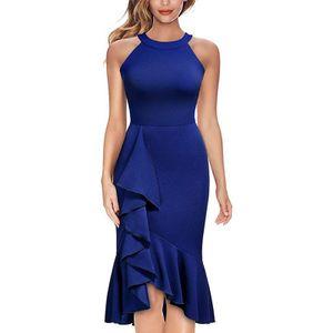 Damen Sommerkleid Saum Dinner Party Kleid,Farbe: Navy Blau,Größe:S