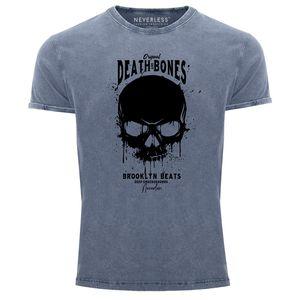 Neverless® Herren T-Shirt Vintage Shirt Printshirt Skull Death and Bones Totenkopf Club Outfit Used Look Slim Fit blau XL