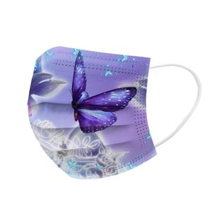 10x EMUZO Mund-Nasen-Maske farbig bunt Motiv Muster Schmetterlinge Rosa Lila