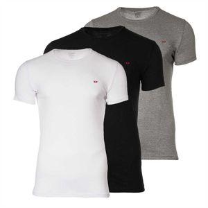 DIESEL Herren T-Shirt 3er Pack - Randal All-Timers, Rundhals, Kurzarm, Baumwolle Stretch schwarz/grau/weiß XL (X-Large)
