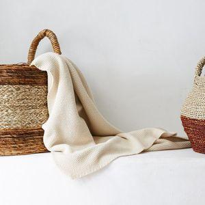 """URBANARA Baumwolldecke """"Antua"""" - 100% reine Baumwolle, Creme, gestrickt – 140 x 200 cm, Strick-Decke, Überwurf, Plaid, Sofadecke, Kuscheldecke …"""