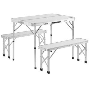 Casaria 3 tlg Alu Campingtisch Set Klapptisch 2 Bänke 90x60x70 cm Koffertisch Tragegriff Camping Gartentisch klappbar, Farbe:weiß