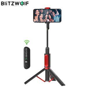BlitzWolf Bluetooth Selfie Stick Stativ, mit Bluetooth Fernbedienung für iPhone 11/11 Pro/11 Pro Max/XS/XS Max/XR/X/8, Samsung, Huawei schwarz+Rot