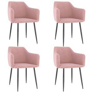 vidaXL Esszimmerstühle 4 Stk. Rosa Samt