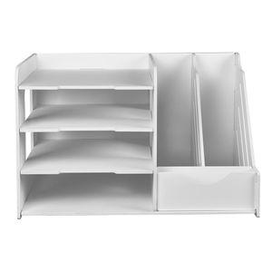 Briefkorb Dokumentenablage 2-Fach Vertikaler + 3-Fach Horizontaler Papierablage Schreibtisch Ablage Ablagekorb für Schule Büro