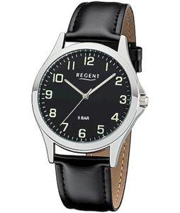 Regent Herren Uhr Lederarmband 1112420 Analog Leder Armbanduhr schwarz UR1112420