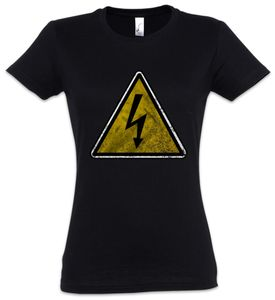 Urban Backwoods Caution High Voltage Vintage Logo Sign Damen T-Shirt, Größe:XL