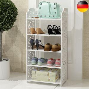 Schuhregal mit 5 Ablagen für 1012 paar Schuhe Schuhablage mit großzügiger Oberfläche Europäischer Stil-Design Weiß