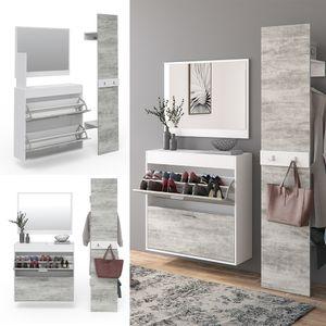 Vicco Flurgarderobe San Remo - Garderoben Set Spiegel Schuhschrank Wandpaneel Flur Diele Gäste