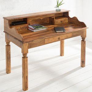 cagü: Exklusiver Design Sekretär & Schreibtisch [SALEM] Sheesham massiv Holz mit 3 Schubladen 115cm x 55cm