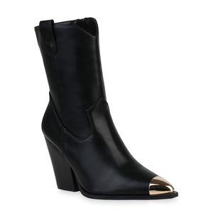 Mytrendshoe Damen Stiefeletten Cowboy Boots Stiefel Schuhe 835778, Farbe: Schwarz, Größe: 36