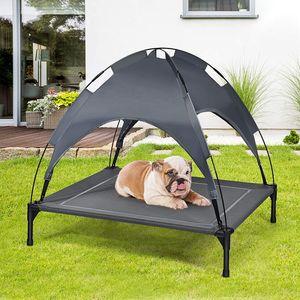GOPLUS Hundeliege mit Dach, Erhöhtes Hundebett, Haustierbett mit Eisenrahmen, Wasserdichtes Hundesofa, Katzenbett mit Sonnensegel, rutschfeste Fußpolster, für Indoor & Outdoor