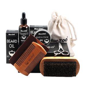 7 Teiliges Bartpflege Set Bestehend aus Bartbalsam, Bartwachs, Bartöl, Bartkamm, Bartbürste und Barttasche, Ideal Geschenkset für Männer Braun wie beschrieben