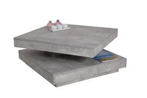 Funktionscouchtisch Ben - Nachbildung Betonoptik - Sockelfuß - 360° drehbare Tischplatte - 77,7x77,7cm