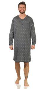 Herren Nachthemd langarm Sleepshirt Nachtwäsche, Grün-Grau L