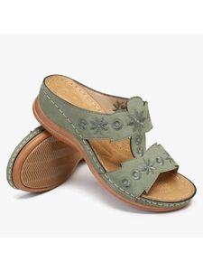 Abtel Damen Flat Slippers Open Toe Sandalen Wasserdichte Sandalen Strandschuhe,Farbe: Grün,Größe:38