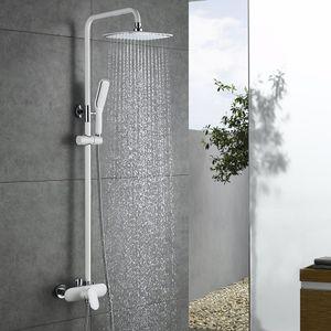 Duscharmatur Weiß Duschsystem Rainshower Regendusche Duschset Brausegarnitur mit Duschkopf und Handbrause Dusche Armatur mit Überkopfbrause für Badezimmer, Homelody