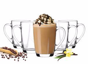 6 Kaffeegläser 300ml mit Henkel mit 6 Löffel Teegläser Latte Macchiato Gläser