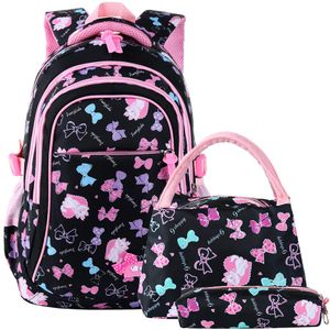 Schulranzen Mädchen Schulrucksack Schultasche Rucksack Kinder Daypack 3 Teile Set für Schule und Freizeit Schwarz