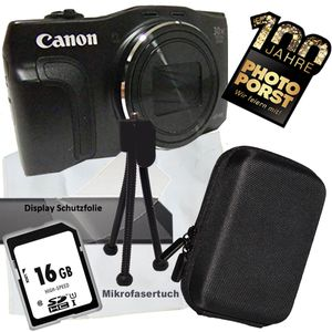 PHOTO PORST - Postfiliale Jubiläumsangebot Canon Powershot SX710 HS schwarz Digitalkamera, mit Reinigungstuch, Kameratasche, Stativ, Speicherkarte und Displayschutzfolie