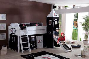 Relita - Halbhohes Spielbett Kim mit Rutsche und Turm, Buche massiv weiß lackiert, mit Stoffset Pirat