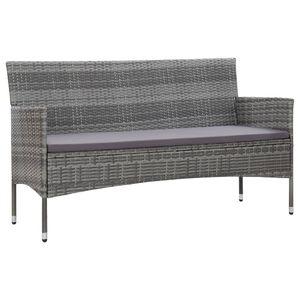 vidaXL 3-Sitzer-Gartensofa mit Polstern Grau Poly Rattan