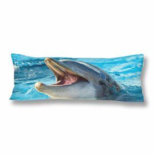 ABPHQTO Dolphin mit offenem Mund Kissenbezüge Kissenbezug 50x150 cm Ocean Animal Blue Wasserkissen Kissenbezug Protector