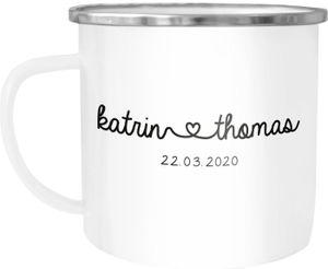 Emaille-Tasse personalisiert Geschenk Partner Namen und Datum anpassbar Hochzeitstag Hochzeitsgeschenk Liebe SpecialMe® weiß-metall Emailletasse