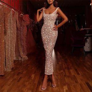 Sexy Glitter Pailletten Abendkleid Elegantes schlankes Kleid