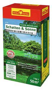 Wolf Garten Premium-Rasen Saatgut Schatten & Sonne LP50 für 50m²